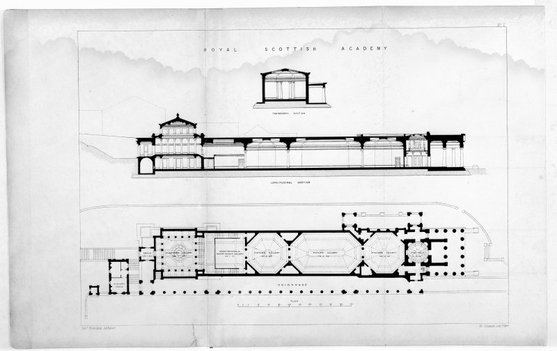 Scanned image of drawing showing sections and plan.