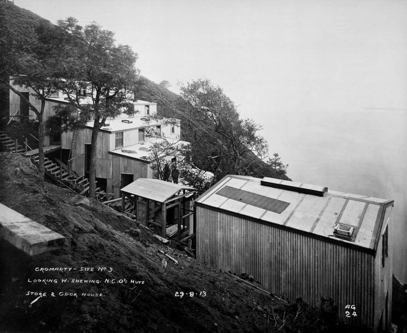 View W showing NCO's huts, store and cook house for South Sutor, Cromarty, QF battery during construction phase.
