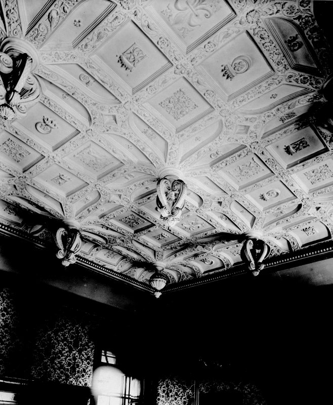 Interior. View of plasterwork ceiling.