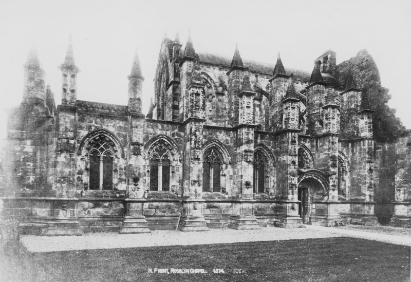 View of North front, Roslin Chapel. Titled: 'N. Front, Rosslyn Chapel. 6374'.