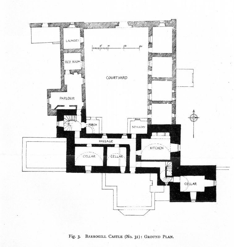 Scanned image of drawing showing ground plan.