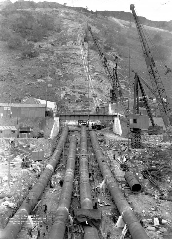 Loch Sloy Project, Contract 13 - Exterior steel pipeline. View looking upwards to Valve House. Scanned image of glass negative no. 2, Box 1115.