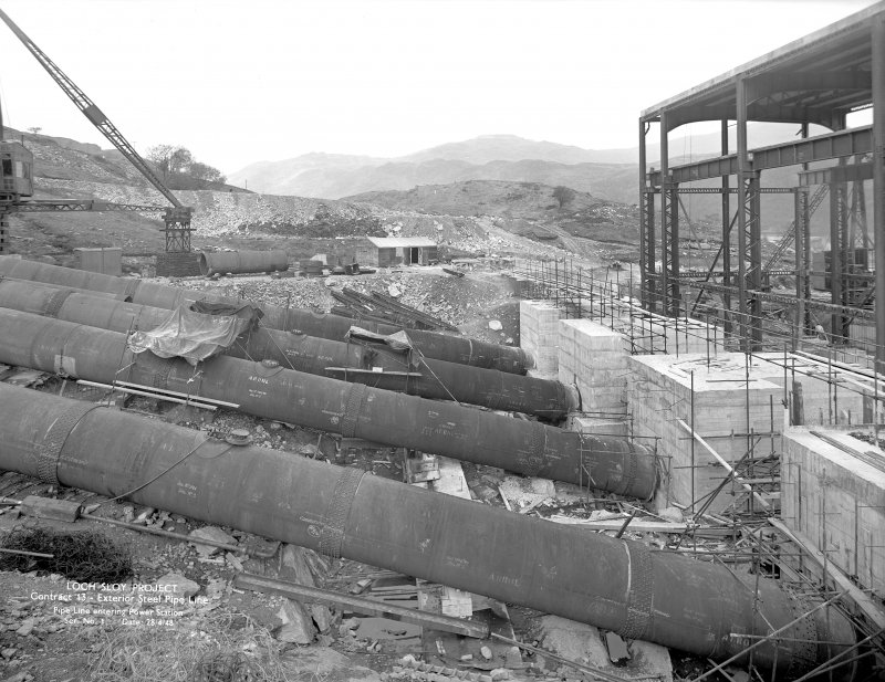 Loch Sloy Project, Contract 13 - Exterior steel pipeline. Pipeline entering power station. Scanned image of glass negative no. 1, Box 1115.