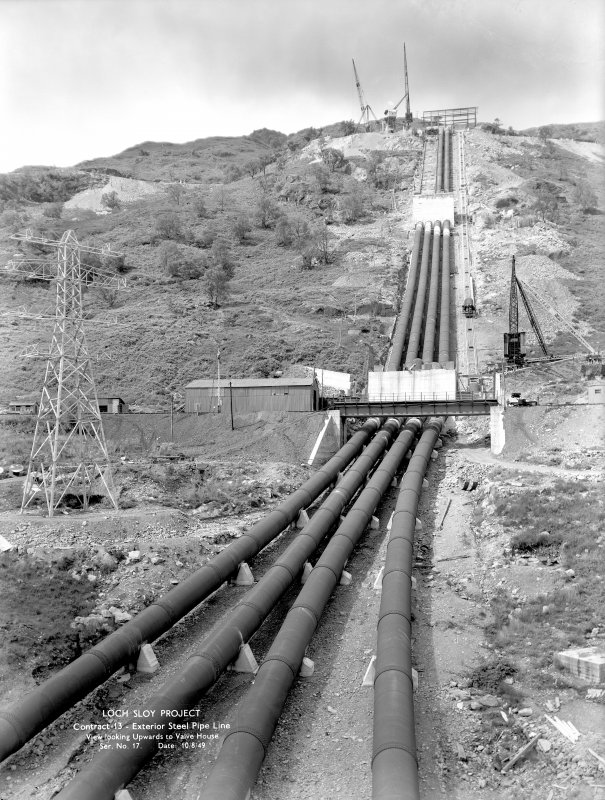 Loch Sloy Project, Contract 13 - Exterior steel pipeline. View looking upwards to Valve House. Scanned image of glass negative no. 17, Box 1115.