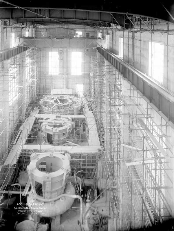 Loch Sloy Project, Contract 24 - Power station. Interior of power station. Scanned image of negative no. 27, Box 873/1.