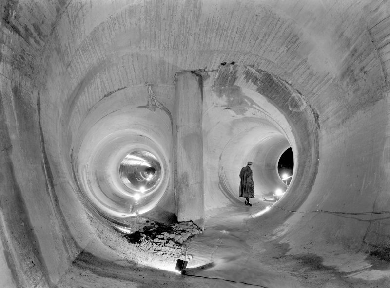 View of main tunnel for Loch Sloy Project, Contract 23, in 1950. Bifurcation of 15'4'' main tunnel to 10' steel lining.