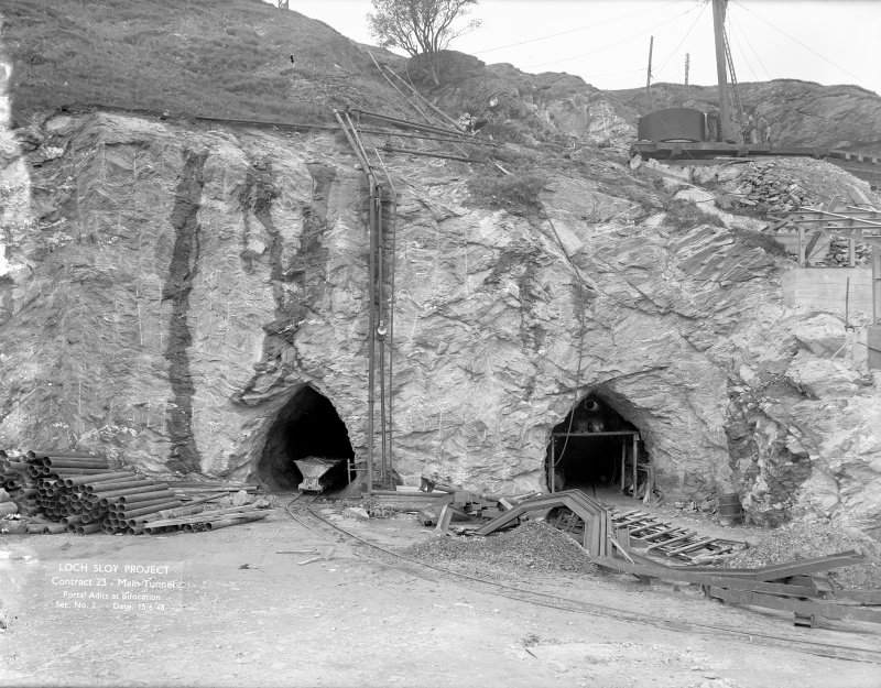 Loch Sloy Project, Contract 23 - Main tunnel. Portal adits at bifurcation. Scanned image of glass negative no. 2, Box 1069/2.