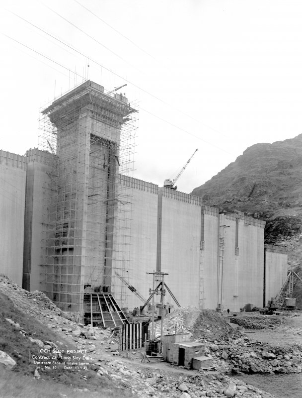 Loch Sloy Project, Contract 22- Loch Sloy Dam. Upstream face of intake tower. Scanned image of negative no. 80, Box 883.