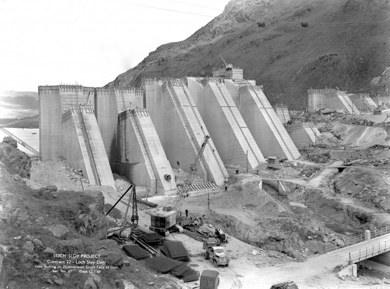 View looking on downstream south face of Loch Sloy dam, Loch Sloy Project, Contract 22 in 1949.
