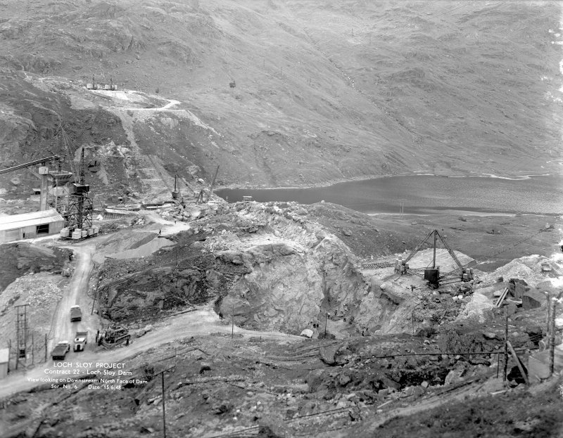 Loch Sloy Project, Contract 22- Loch Sloy Dam. View looking on downstream north face of dam. Scanned image of glass negative no. 6, Box 883.