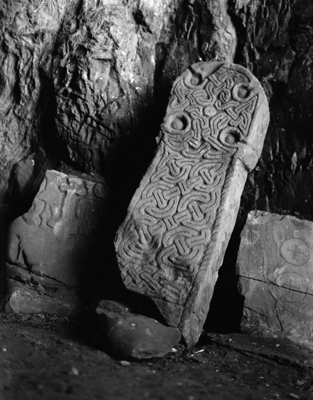 Detail of carved stone, St Ninian's Cave.