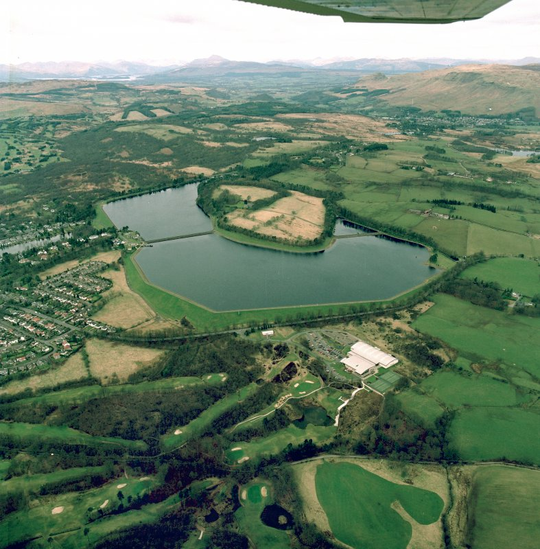 Oblique aerial view centred on the reservoirs, taken from the SSE.