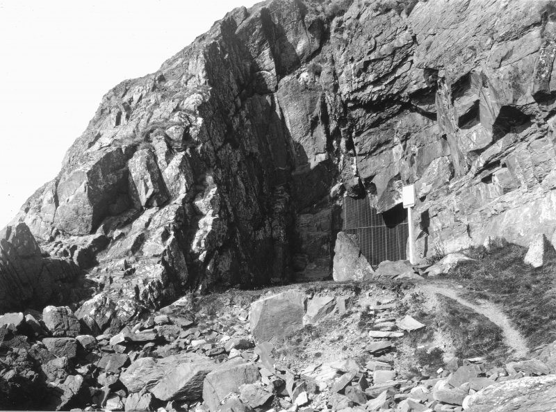 View of entrance to St Ninian's Cave.