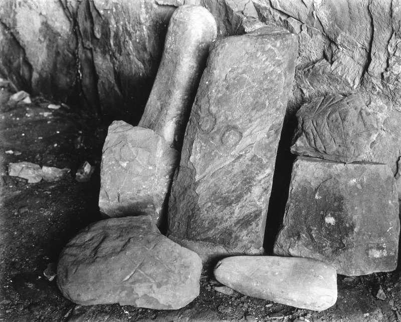 View of sculptured stones, St Ninian's Cave.