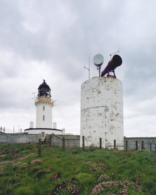 View of lighthouse and foghorn tower from N