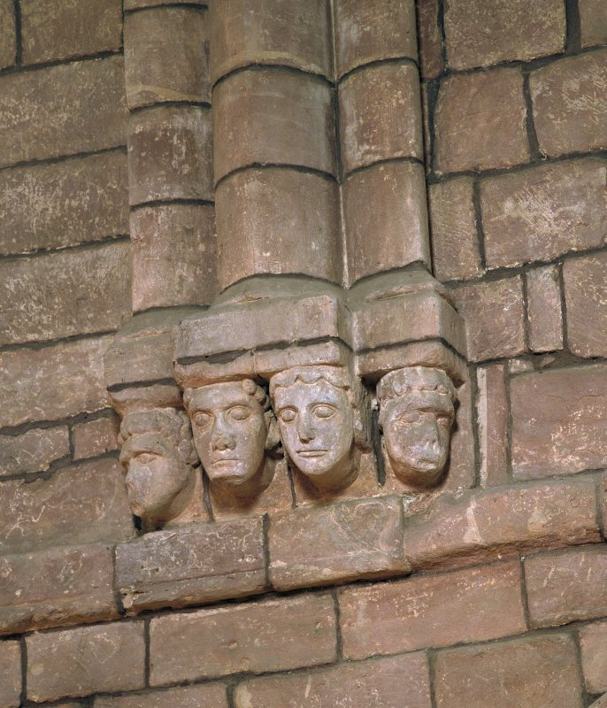 Detail of carved head corbels.