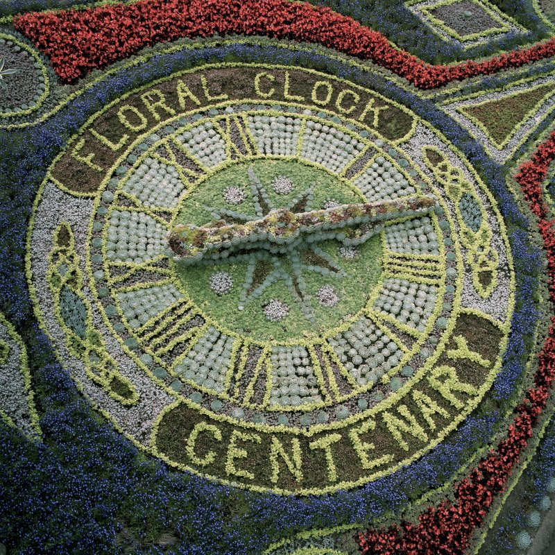 Scanned image of view of floral clock from south west