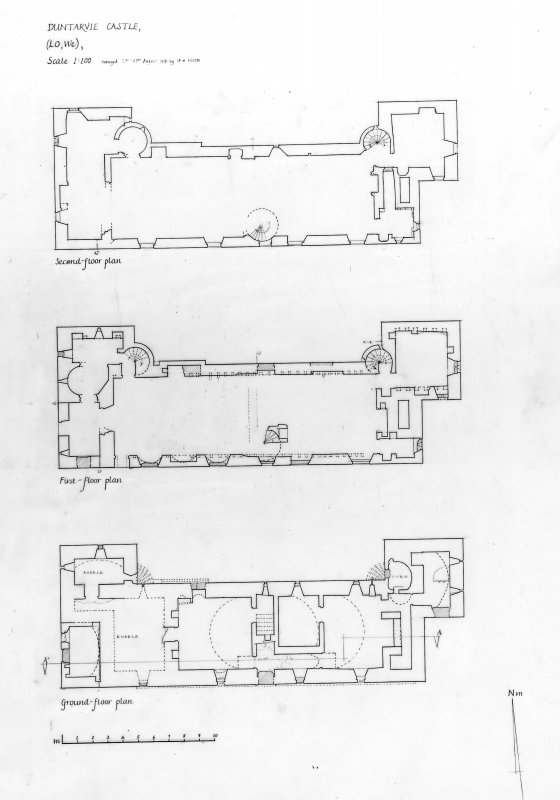 Scanned image of drawing showing floor plans.