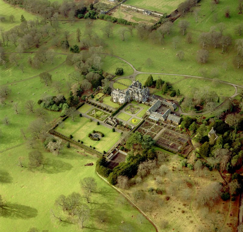Oblique aerial view centred on Balcarres House.