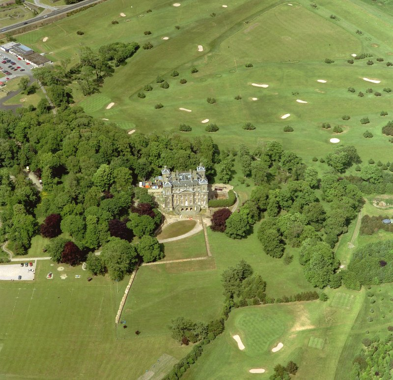 Oblique aerial view centred on Duff House, taken from South-West.