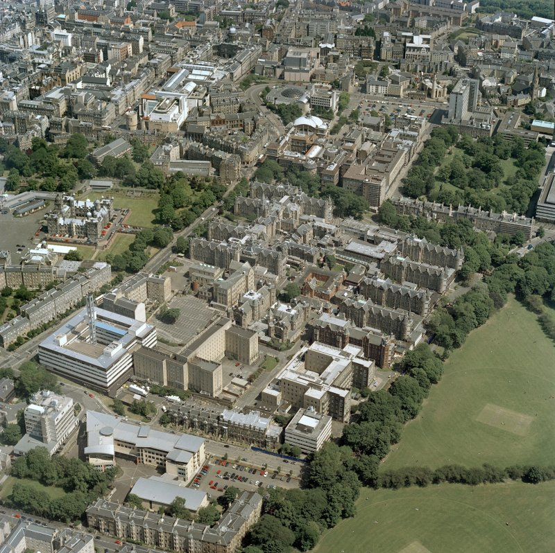 Scanned image of oblique aerial view centred on the old Royal Infirmary hospital with George Heriot's School and Edinburgh University adjacent, taken from the S.