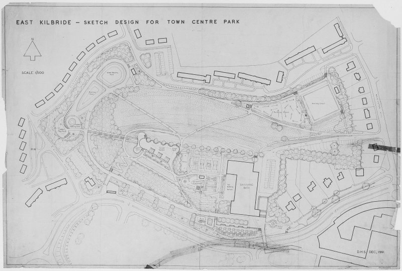 Layout plan of Town Centre Park. Scanned image of D 37211.