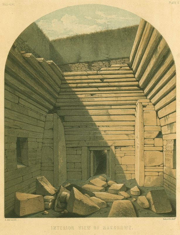 Scanned image of drawing showing an interior view of Maes Howe.