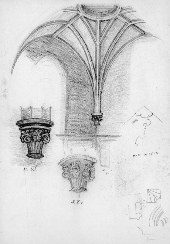 Drawing of vaulting in tower with details of capitals etc.