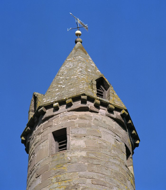 Detail of top of tower from W.