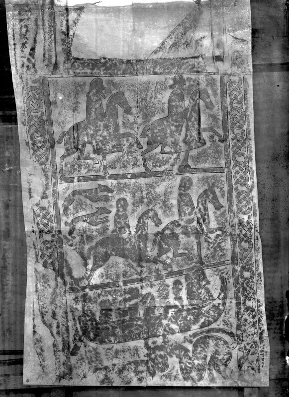 Detail of reverse of St Orland's Stone, showing mounted figures and boat.