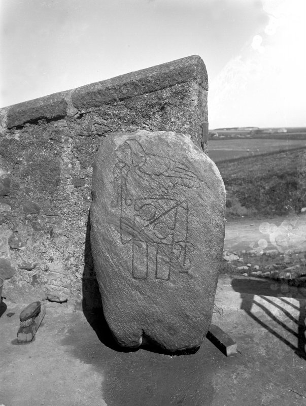 View of symbol stone. Reproduced, masked, in Allen and Anderson 1903, Early Christian Monuments of Scotland, fig.204.