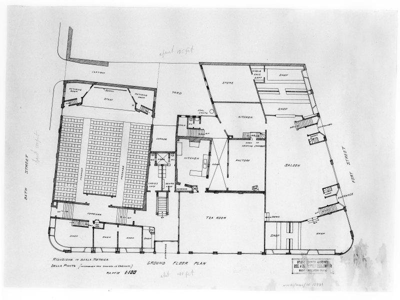 Premises for L Castelvecchi. Proposed ground floor plan including ballroom, tea room, and cinema. Scanned image of E 33719.