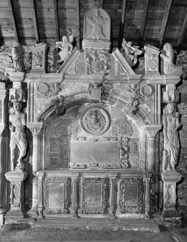 Interior. General view of  the Menzies monument on the North wall, Weem Old Parish Church.
