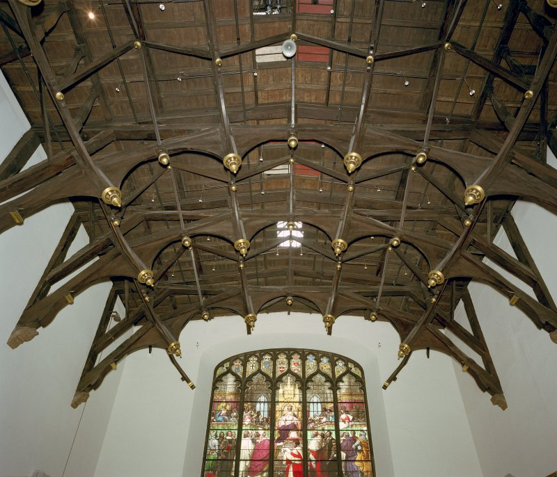 Interior. View of Parliament Hall roof structure from N.