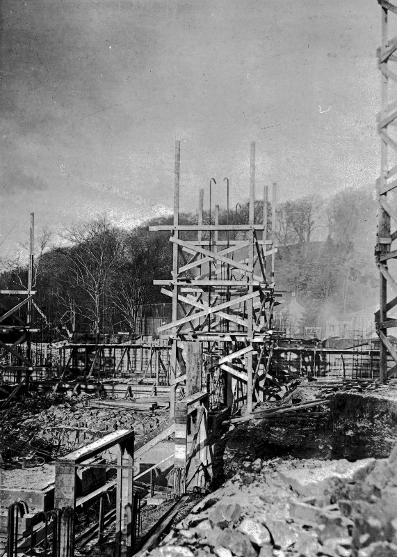 View of structure showing reinforcing steel. Photographic copy of Plate 6, Volume 198, PA 123.