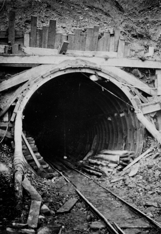 Tunnel at surge tank end. Photographic copy of Plate 25, Volume 198, PA 123.