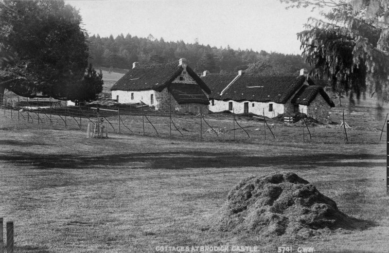 Historic photograph showing view of cottages.