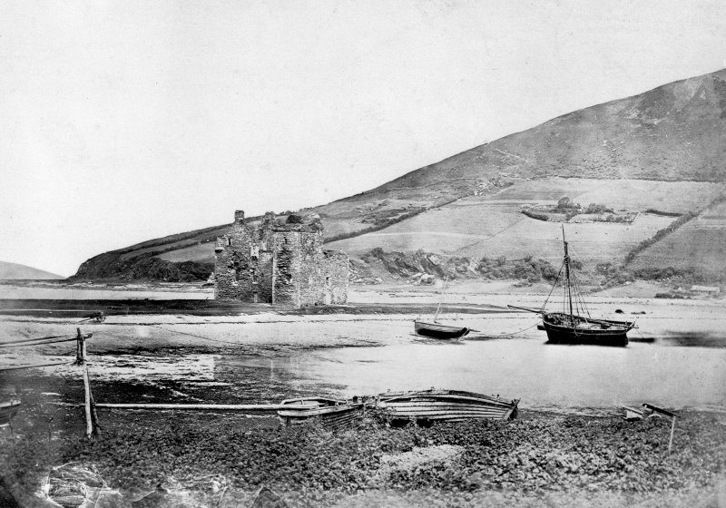 Arran, Lochranza Castle. Modern copy of historic photograph from the Annan Album showing a general view from South.
