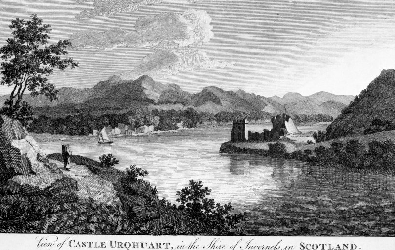 Scanned image of engraving showing view of Urquhart Castle Titled: 'View of CASTLE URQHUART, in the Shire of Inverness, in SCOTLAND.'