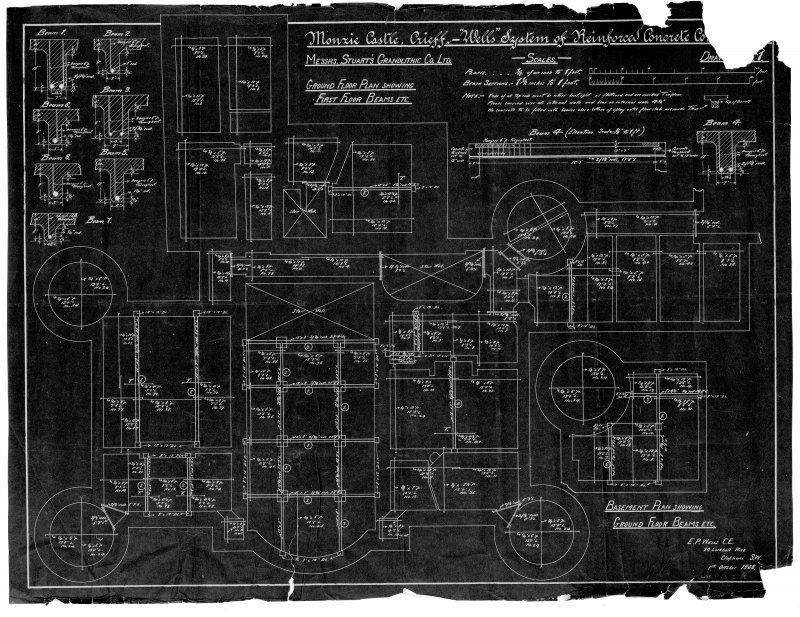 Scanned image of drawing showing basement and ground floor plans with first floor beams.