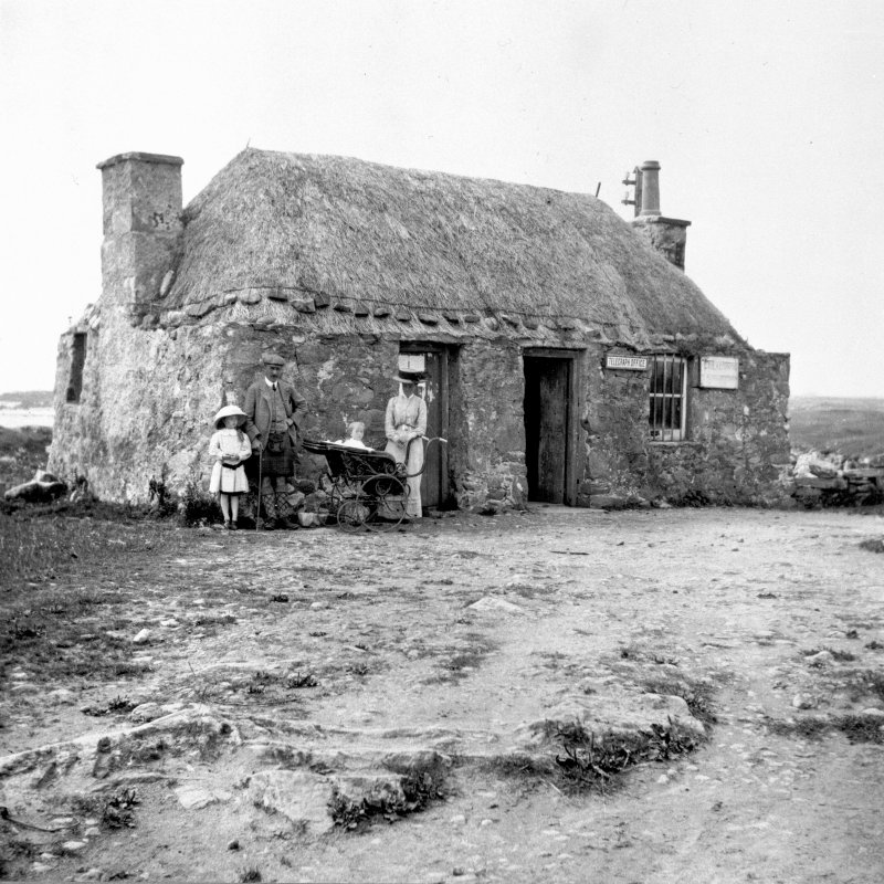 View of telegraph office at Creagorry, Benbecula, with family.