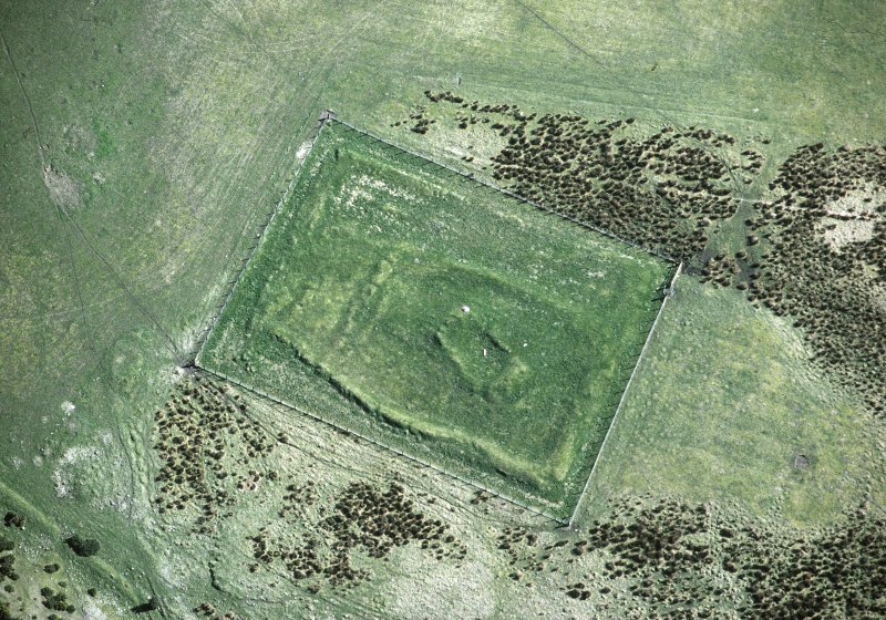Oblique aerial view of 'Our Lady's Chapel', Hilton of Cadboll. Site of 'Hilton of Cadboll' Pictish cross slab discovery.