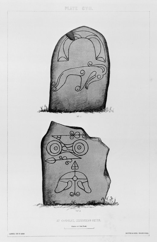 Incised Pictish symbol stones at Congash, numbered 1 and 2. From J Stuart, The Sculptured Stones of Scotland, vol. ii, 1867, plate cvii.