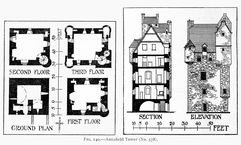 Scanned image of drawing showing floor plans, section and elevation.
