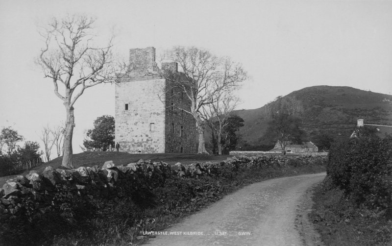 Historic photograph showing view of castle.