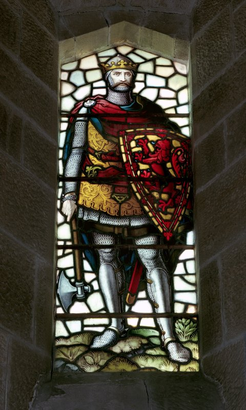 Interior of Wallace Monument. 2nd. floor, exhibition room, detail of stained glass window