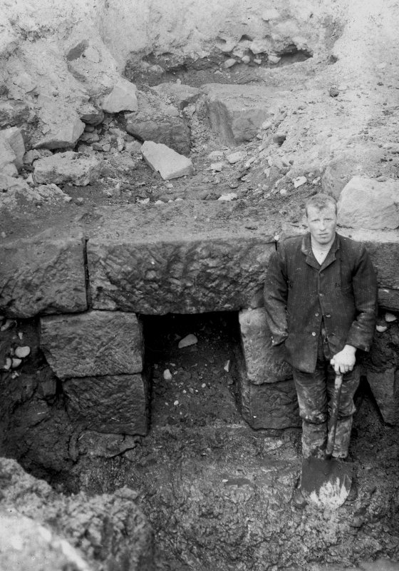 Excavation photograph showing drain mouth, W side, taken during the James Curle excavation 1905-1909.
