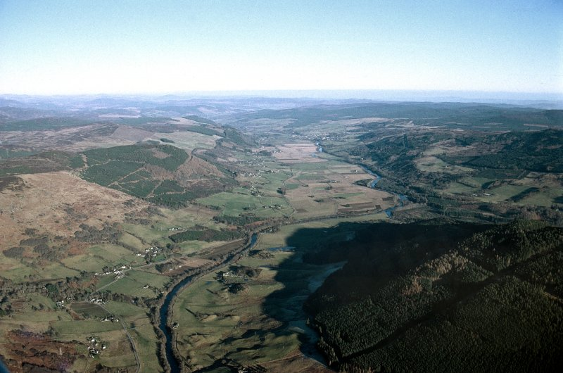 Oblique aerial view of Upper Strathtay, taken from above Drummond Hill, looking E (downstream)towards Aberfeldy.
