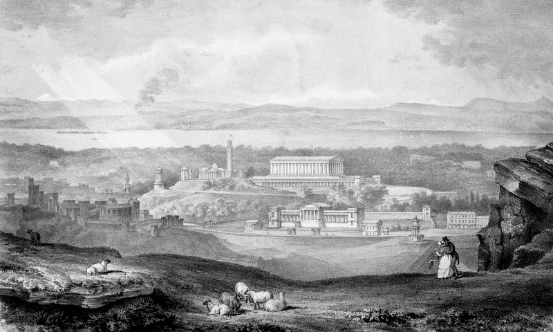 Speculative view showing the National Monument of Scotland (unbuilt) and Royal High School.