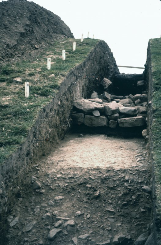 Copy of colour slide, Birrens Roman Fort   Rampart section. NMRS Survey of Private Collection  Digital Image Only